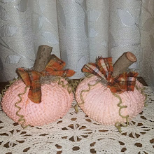 Orange Chenille Pumpkins - set of 2