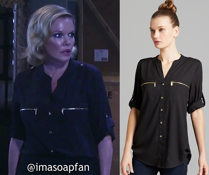 Ava Jerome, Maura West, Black Utility Shirt with Zip Pockets, Calvin Klein, General Hospital, GH