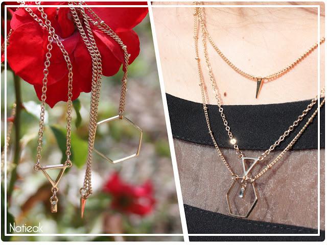 collier géométrique doré Happiness boutique