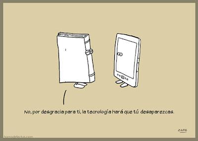Meme de humor sobre el libro en papel y el libro digital