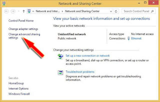 klik 'change advanced sharing settings'