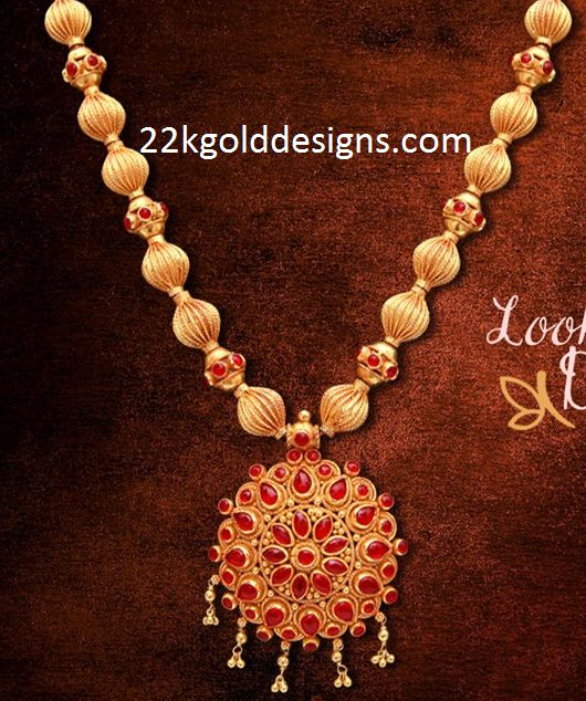Gold Balls Necklace With Ruby Pendant 22kgolddesigns