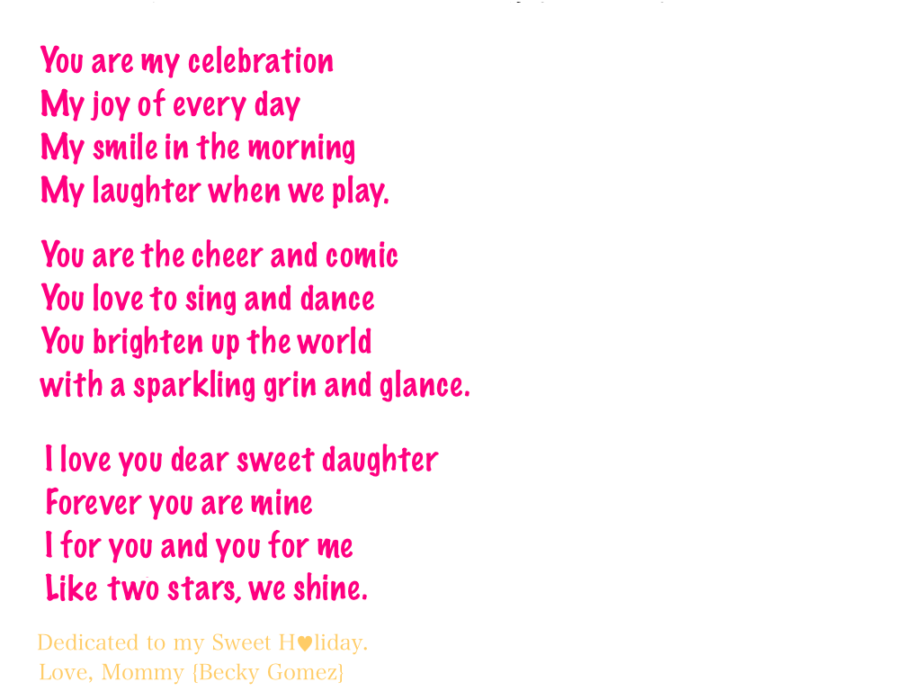 Poem To My Daughter From Mother Homemade Mother Day Crafts For Preschoolers