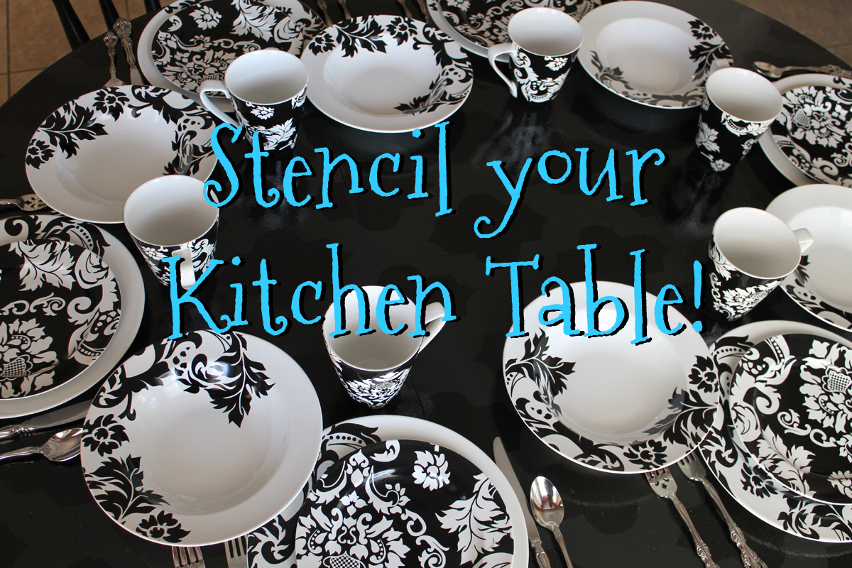Stencil A Round Kitchen Table Tutorial