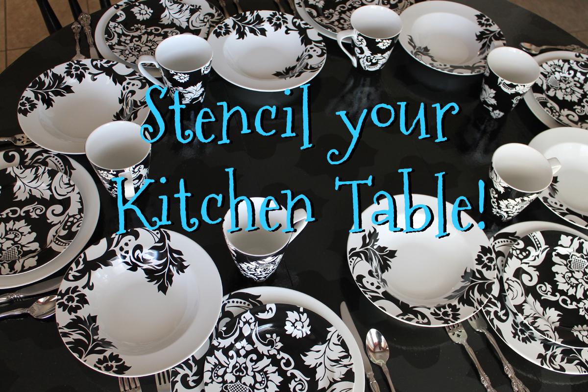 Stencil a Round Kitchen Table tutorial