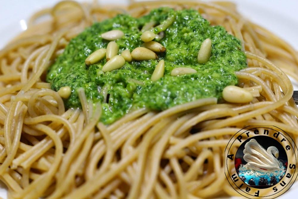 Spaghettis au Pesto de roquette