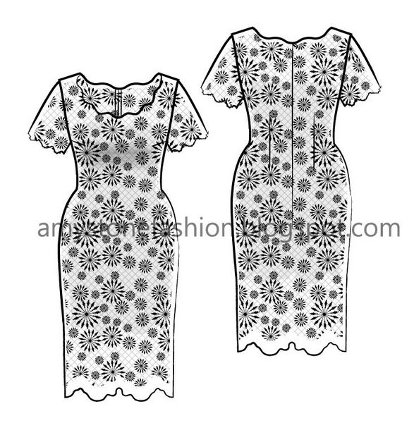 Lace Dress Illustrator Flat Fashion Sketch Templates 0117
