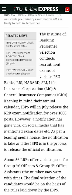 IBPS RRB VI Notification is Fake