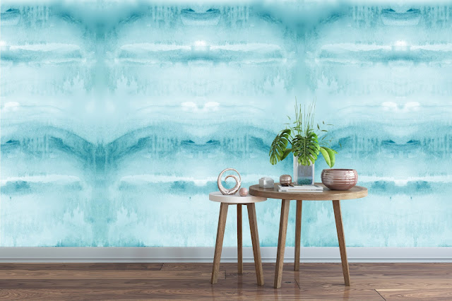 water wallpaper large mural, accent wall wallpaper removable peel and stick, watercolor, teal, aqua blue, water feel