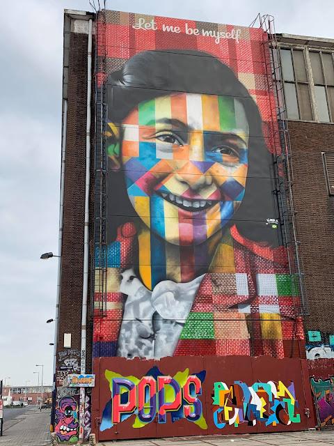 street art mural of Anne Frank