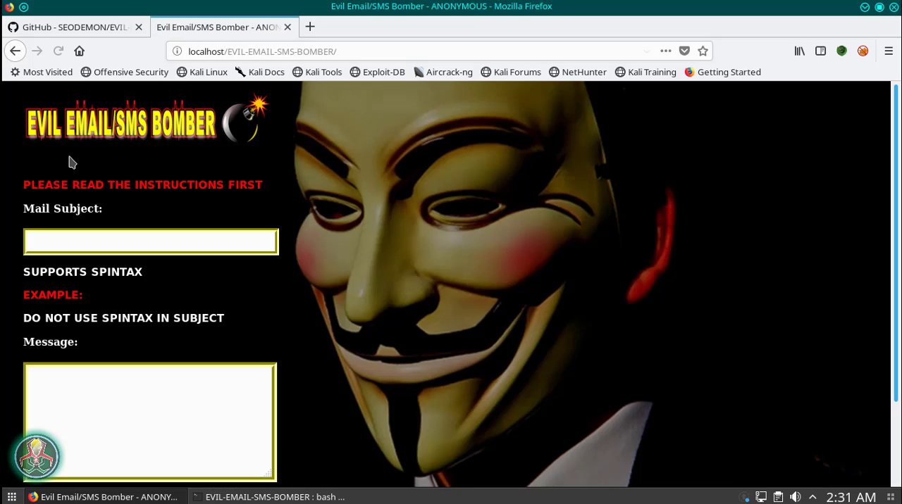 EVIL E-mail and SMS Bomber Tool ~ Secret Hacker Official ®