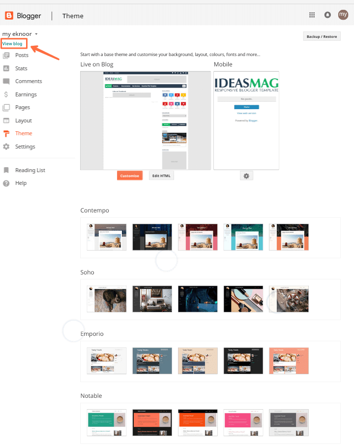 How to change blogger theme and templates.