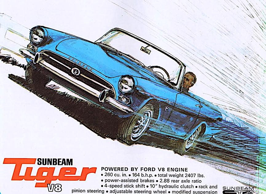 a 1965 Sunbeam Tiger magazine advertisement, blue