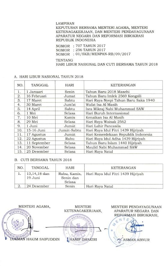 SKB 3 Menteri Tentang Hari Libur Nasional dan Cuti Bersama Tahun 2018