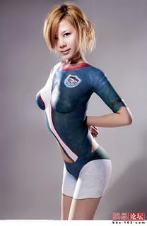 Asian soccer body paint difficult tell