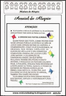 Texto origem das festas juninas