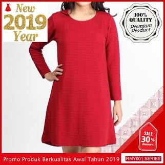 RMY018D47 Dress Wanita Basic Lengan Keren Panjang Earreen BMGShop