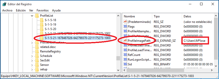 y aquí la clave que contenga el nombre a cambiar, en este caso es el último perfil, el nombre ProfileImagePath.