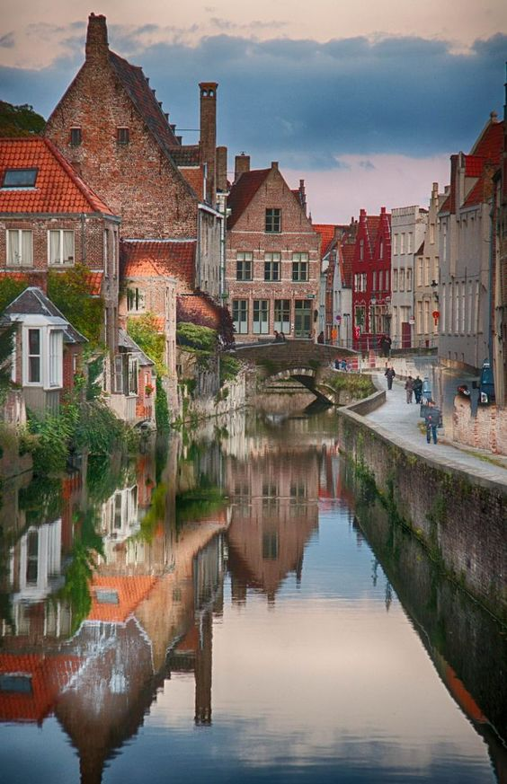 Breathtaking image of Bruges, Belgium with its medieval buildings and canal - found on Hello Lovely Studio