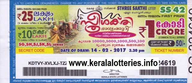 Official Kerala lottery result of Sthree Sakthi (SS-51) on 18 April 2017