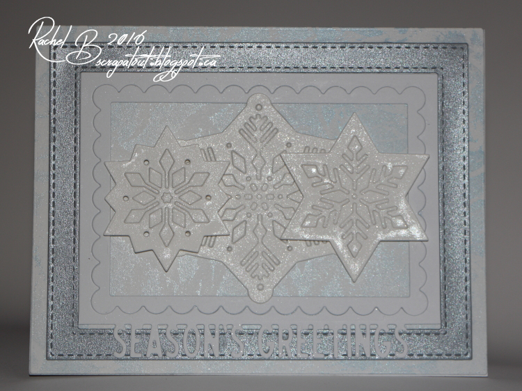 Scrapatout - Handmade card, Impression Obsession, Greeting, Snowflakes, Winter Leaves