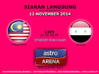Siaran Langsung Malaysia vs Syria