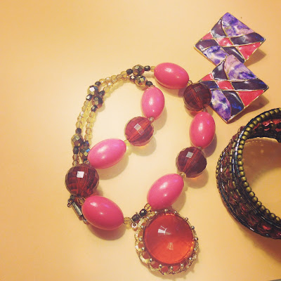 Pink and Brown Vintage Style Accessories with a touch of gold and purple - hand-me-down costume jewelry