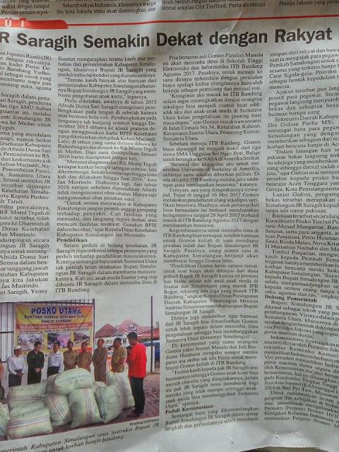 """Artikel berjudul """"JR Saragih (maksudnya Bupati Simalungun) Semakin dekat Rakyat"""" hampir setengah halaman di harian Analisa hari ini,"""