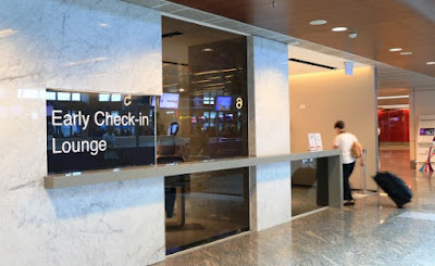 Source: Changi Airport Group. A view of the Early Check-in Lounge at Changi Airport terminal 1.