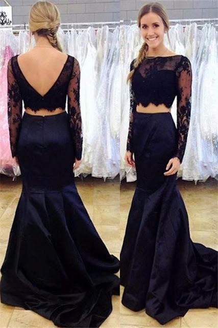 Black Two-Piece Mermaid Prom Dress 2017 Long-Sleeve Open-Back Lace Evening Gowns -Price:US$ 159