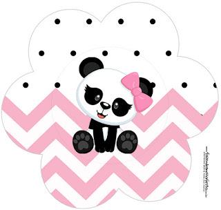 Panda Baby in Pink Chevron: Free Printable Cupcake Toppers.