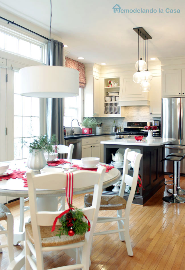 white and red Christmas kitchen