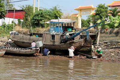 repairing a boat