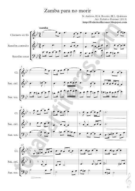 Partitura del Guion Score Zamba para No Morir para Cuarteto Sheet Music