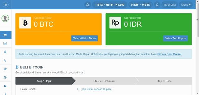 Halaman dasboard akun walet bitcoin