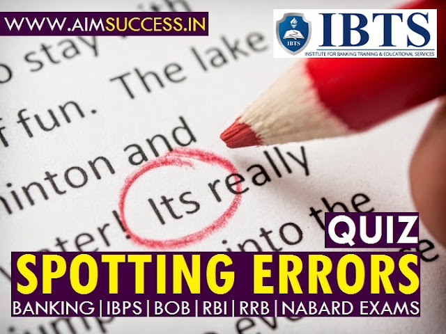 Spotting Errors for SBI PO Clerk RRB 2018 13 June