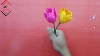 Cara Membuat Bunga Tulip Dari Sendok Plastik Lengkap Beserta Gambarnya Kreator Kerajinan