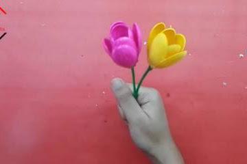 Cara Membuat Bunga Tulip dari Sendok Plastik Lengkap Beserta Gambarnya
