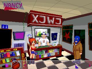 Nancy y un atracador en la estación de servicio.