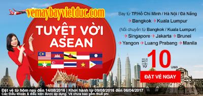 đặt vé máy bay khuyến mãi Air Asia đến Đông Nam Á giá từ 10 USD