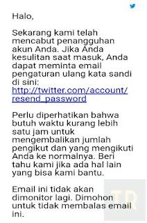 Email Notifikasi Akun Twitter yang berhasil di pulihkan