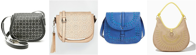 One of these laser cut saddle bags is from Tory Burch for $450 and the other three are under $57. Can you guess which one is the designer bag? Click the links below to see if you are correct!