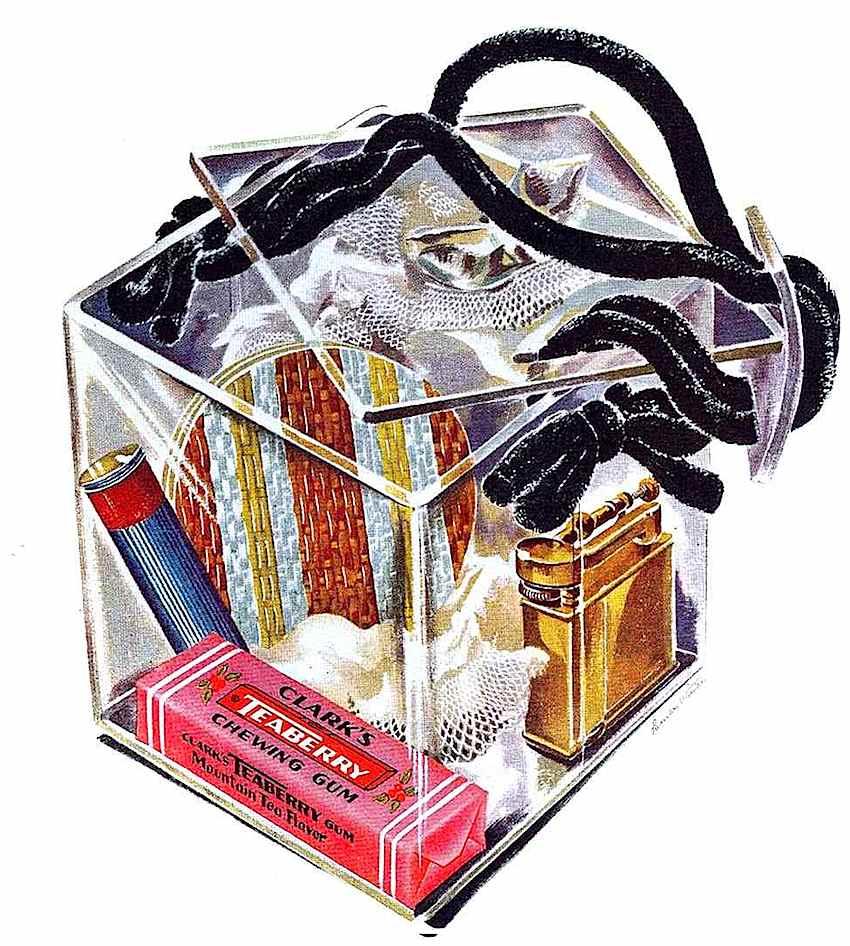a 1945 lucite purse, color illustration, clear cube