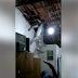 Jumento fica preso em telhado no bairro do Cristo Rei em Cajazeiras na noite desta segunda-feira