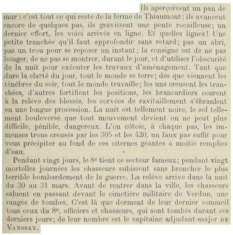 Extrait de l'Historique Régimentaire du 8e Chasseur