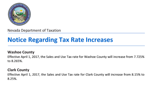 NEVADA SALES TAX INCREASE EFFECTIVE APRIL 1ST 2017