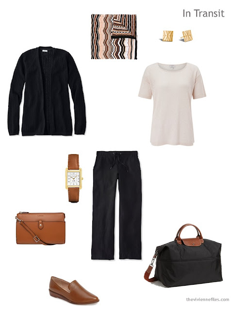warm weather travel outfit in black and beige with brown accents