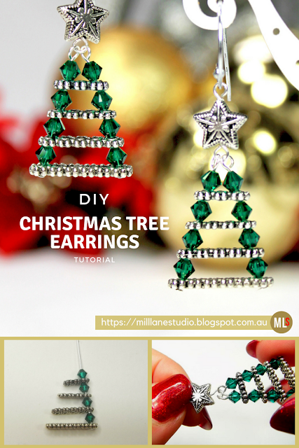 DIY Project sheet for how to make a pair of Evergreen Christmas Tree earrings with Swarovski Crystals and graduated spacer bars