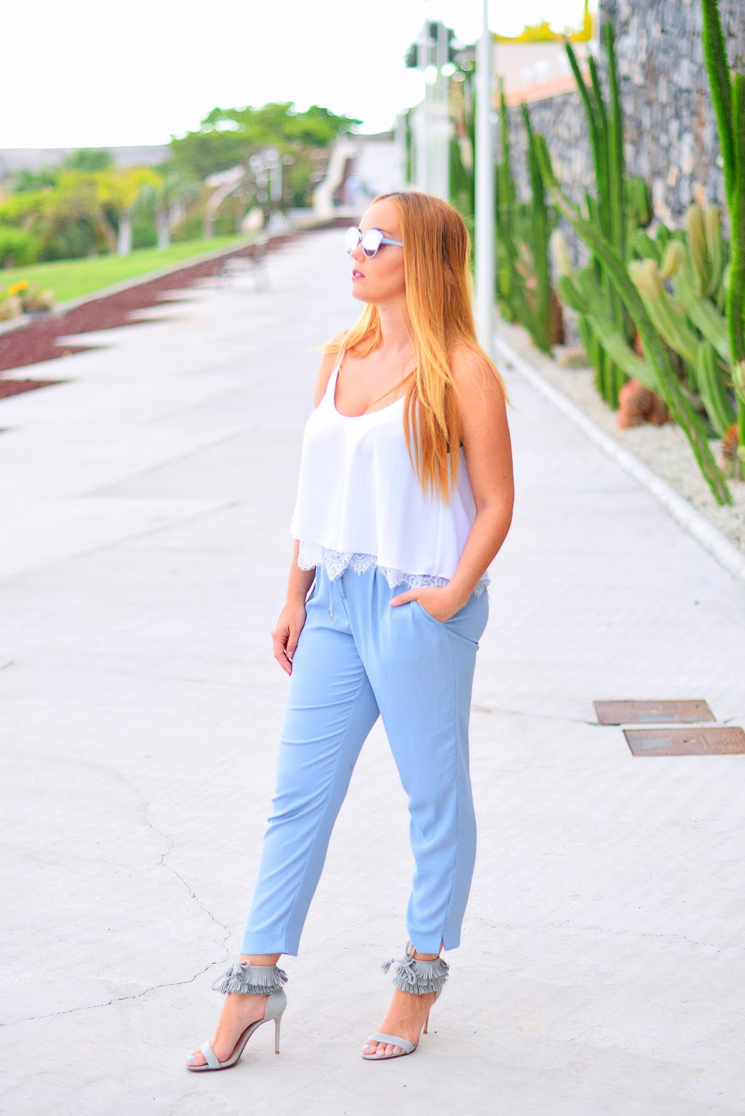 nery hdez, dior sun , optical h , azul serenidad, serenity blue, lace top, fringes shoes