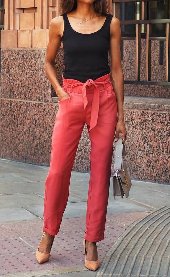 summer fashion trends / red pants + beige bag + heels + black tank top